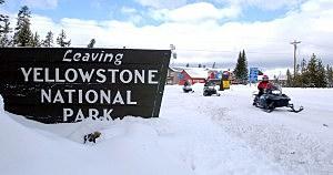 Snowmobilers in Yellowstone