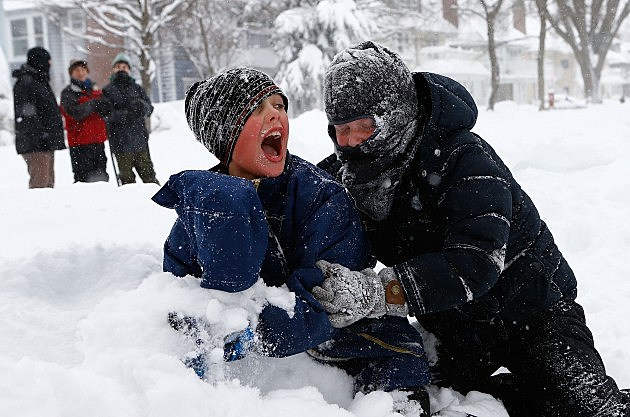 kids in snowstorm