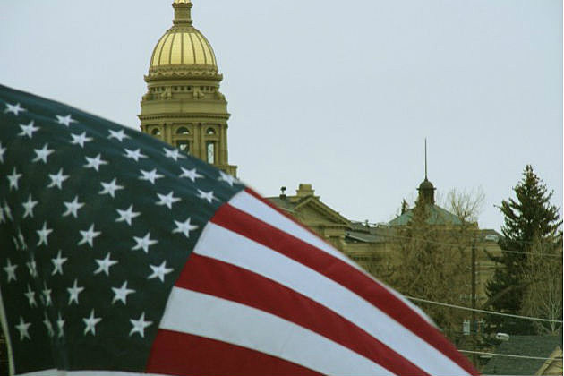 Wyoming Capitol and flag
