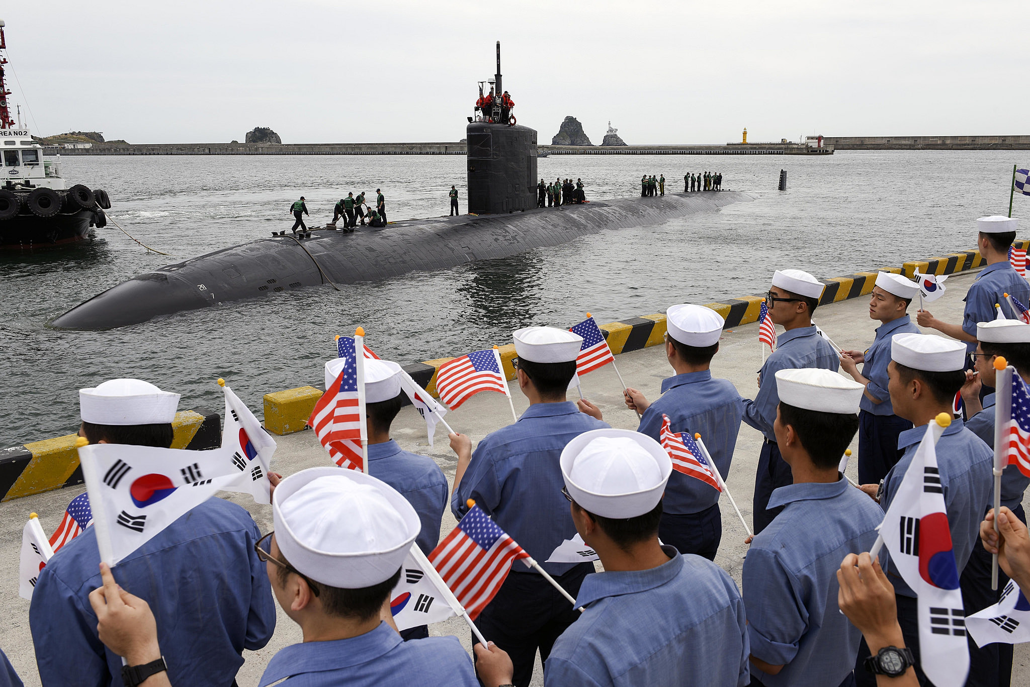 Attack submarine USS Cheyenne docks at South Korean port city